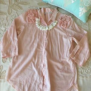 Anthropologie S pink button down blouse top Cotton